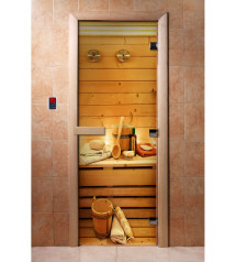 Porte de sauna en verre avec film photo A033