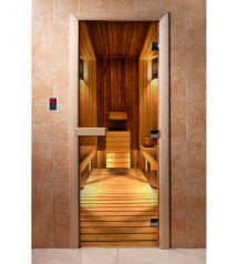 Porte de sauna en verre avec film photo A036
