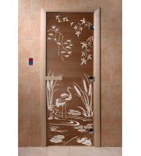 Stiklinės pirties durys Gervė, bronza