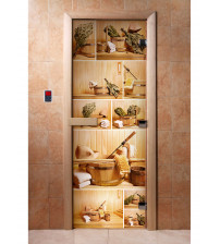Puerta de sauna de vidrio con película fotográfica A005