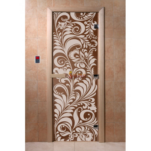 Stiklinės pirties durys Sodas, bronza