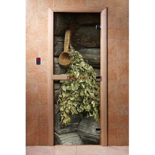 Stiklinės pirties durys su foto plėvele A003