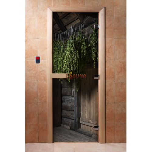 Stiklinės pirties durys su foto plėvele A002