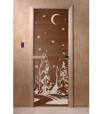 Stiklinės pirties durys Žiema, bronza