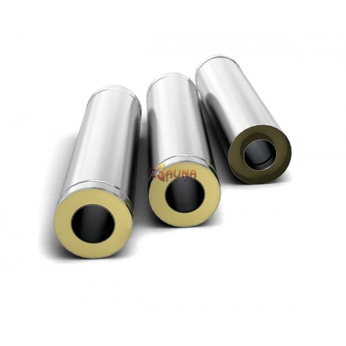 Stainless Steel Double Wall Insulated Chimney Pipe 1 m, 0.5mm