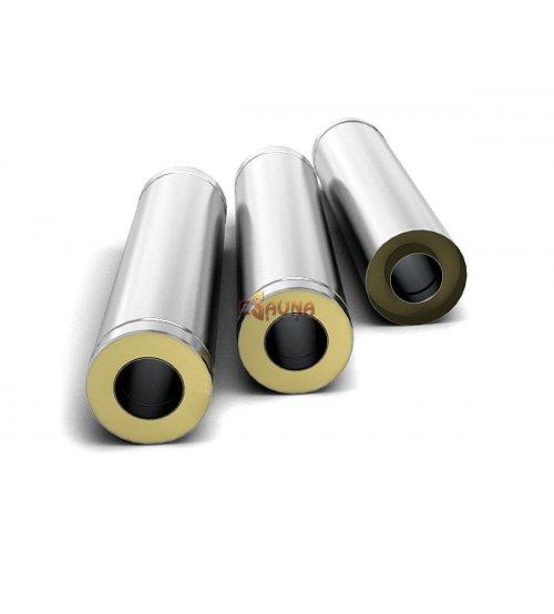 Nerūdijančio plieno dvisienis įdėklas, dūmtraukis 1m, 0.5mm