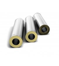 Stainless Steel Double Wall Insulated Chimney Pipe 0.5 m, 0.5mm