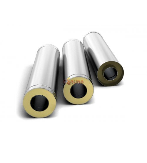 Tubo de chimenea con aislamiento de doble pared de acero inoxidable 0.5 m, 0.5 mm