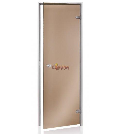 Steam bath doors, brown glass