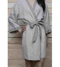 Peignoir de bain de luxe - Kimono en lin à chevrons le plus doux en lin lituanien