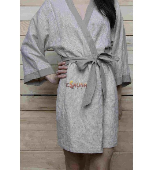 Luxury Bath Robe- Kimono in Herringbone Design Softest Lithuanian Linen