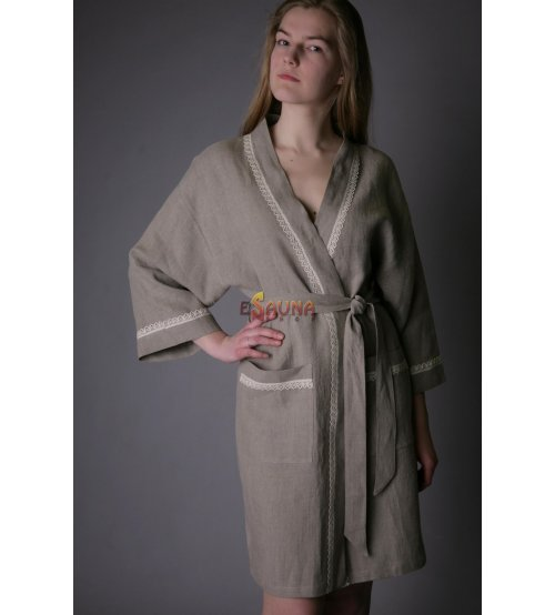 Pure Linen Eco Friendly Natural Bath/Night Robe Short