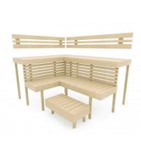 Modular sauna bench OPTIMAL, Aspen