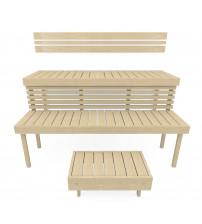 Модулна пейка за сауна STANDART, Аспен