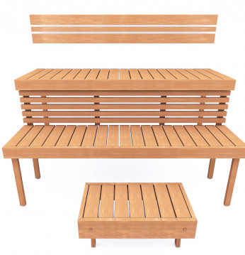 Modulær sauna bænk STAN..