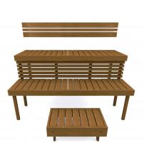 Modular sauna bench STANDART, Thermo-aspen