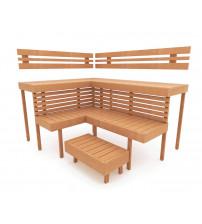 Modular sauna bench OPTIMAL, Alder