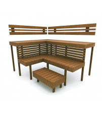 Modular sauna bench OPTIMAL, Thermo aspen