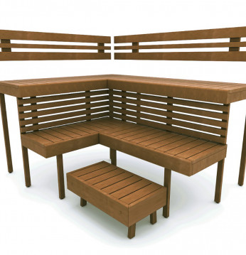 Modulær sauna bænk OPTI..