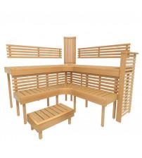 Modular sauna bench PREMIUM, Alder