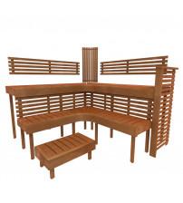 Модульная кровать для сауны PREMIUM, Термо-осина