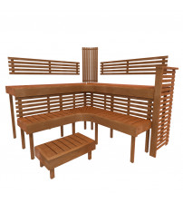 Modular sauna bench PREMIUM, Thermo aspen