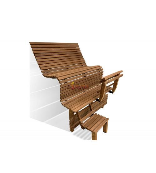 Modular sauna bench ERGONOMIC, Thermo aspen