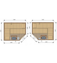 Cabina sauna Harvia Variante S2520R / S2520L