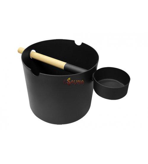 Kolo vedro 5,0 L in zajemalka, črna
