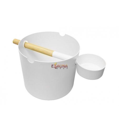 Kolo vedro 5,0 L in zajemalka, bela