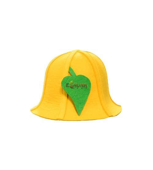 Saunamütze, mit Blättern, gelb