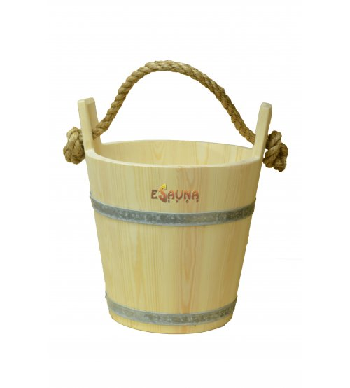Wooden bucket with a rope, 9 L