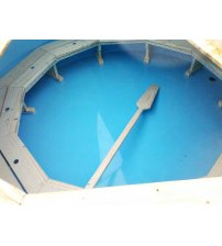 Plastic hot tub with larch wood, 220 cm
