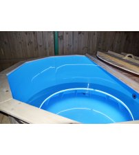 Bañera de hidromasaje de plástico con madera de abeto, 160 cm