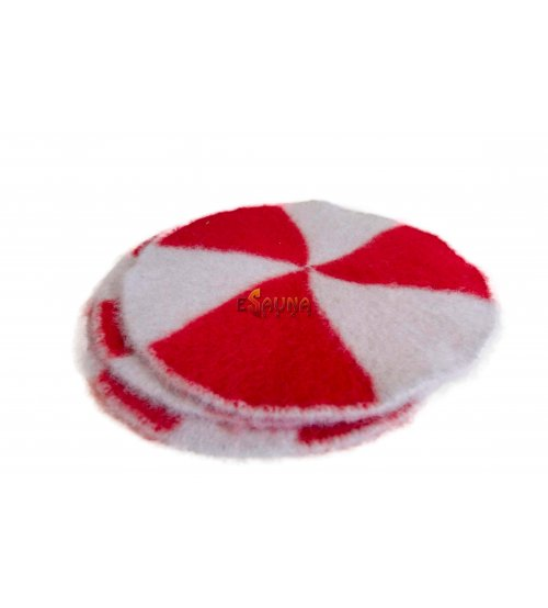 Sitzkissen aus Wolle, rot-grau