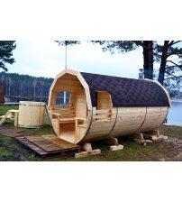 Sauna in een ton van sparrenhout, 3m