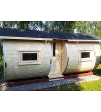 Sauna in een ton van sparrenhout, 6m