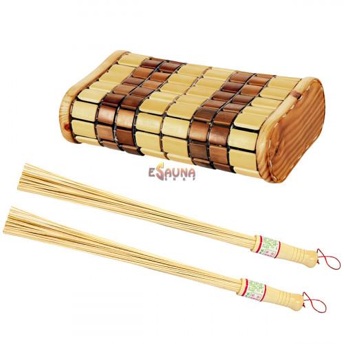 Hovedstøtte og bambus piskeris sæt