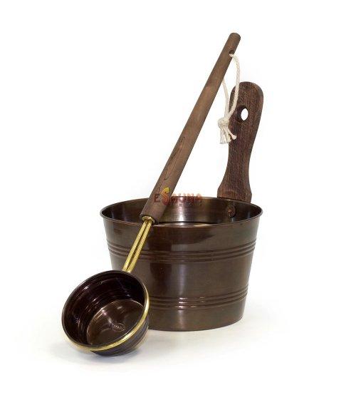 Saunia pail and ladle, oxidized copper