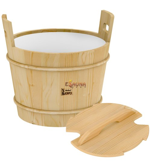 Sawo wooden bucket with lid, pine, 40 L