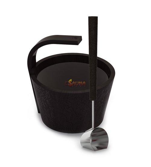 "Sawo sauna set ""More steam"" premium, colored, black 4,0 L"