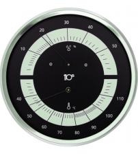 Sentiotec termometras-higrometras apvalus, juodas