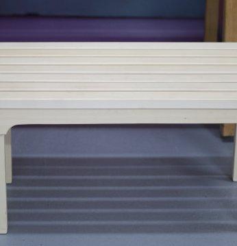 Wooden sauna bench..