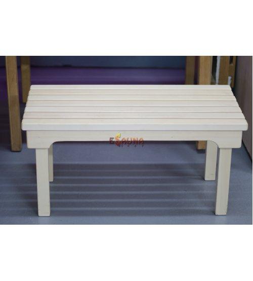Wooden sauna bench