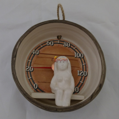 Sauna thermometer - barrel with girl
