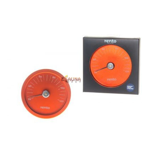Rento sauna thermometer in orange aluminium