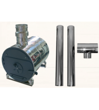 External round tub water heater and chimney set