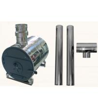 Calentador de agua externo de tina redonda y juego de chimenea